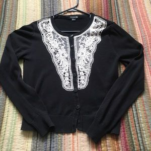 Forever 21 Black & White Lace Button Up Cardigan